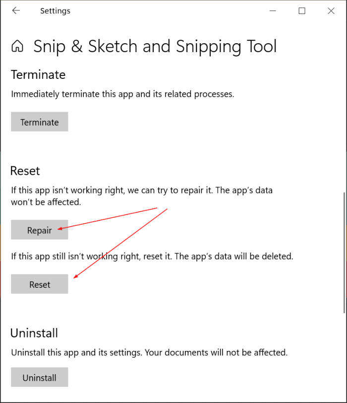 desinstale o vuelva a instalar la herramienta de recorte y recorte y dibuje Windows 10 pic3