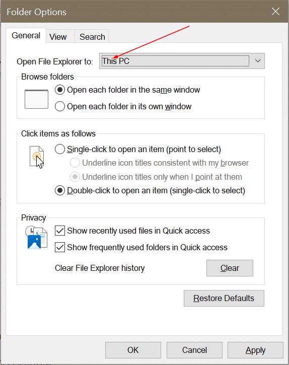 Abra el explorador de archivos en esta PC en lugar de acceso rápido en Windows 10 pic2