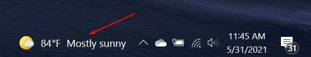 muestre la temperatura en grados Celsius o Fahrenheit en la barra de tareas de Windows 10 pic03