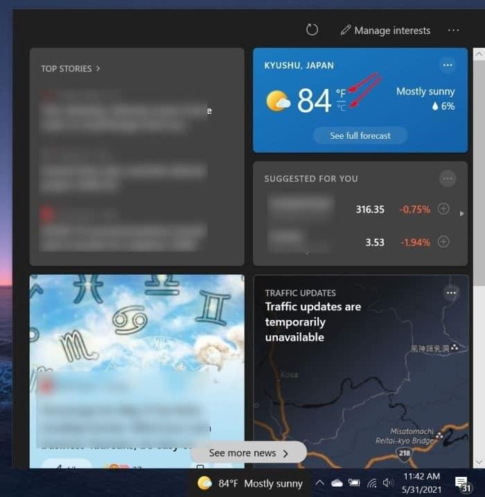 muestre la temperatura en grados Celsius o Fahrenheit en la barra de tareas de Windows 10 pic2