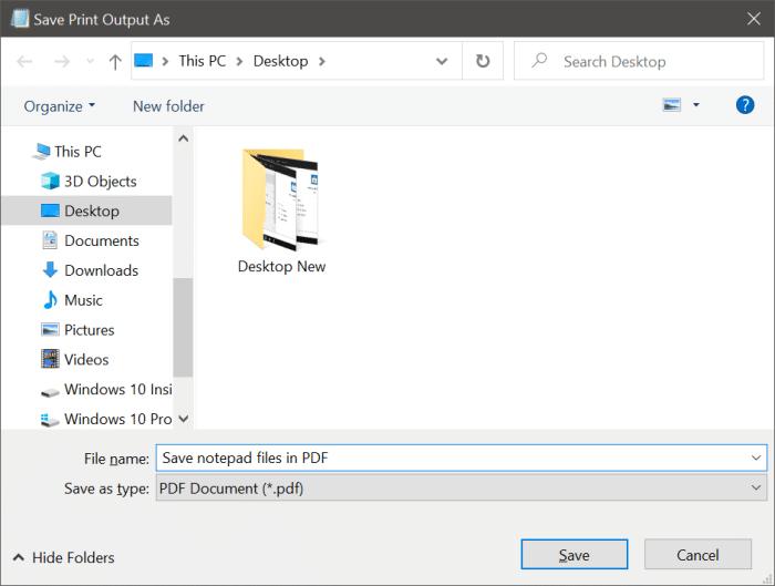 guardar el archivo de texto en el bloc de notas como PDF o HTML en Windows 10 pic7