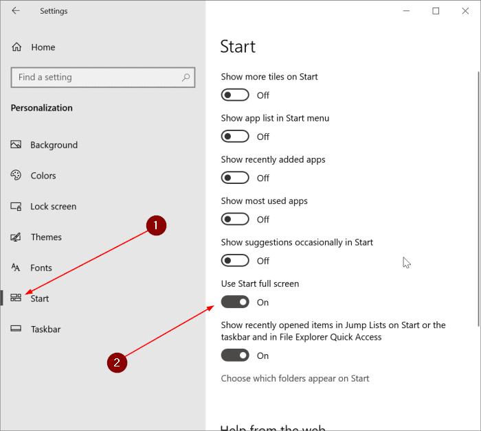 hacer que el menú Inicio en pantalla completa en Windows 10 pic1