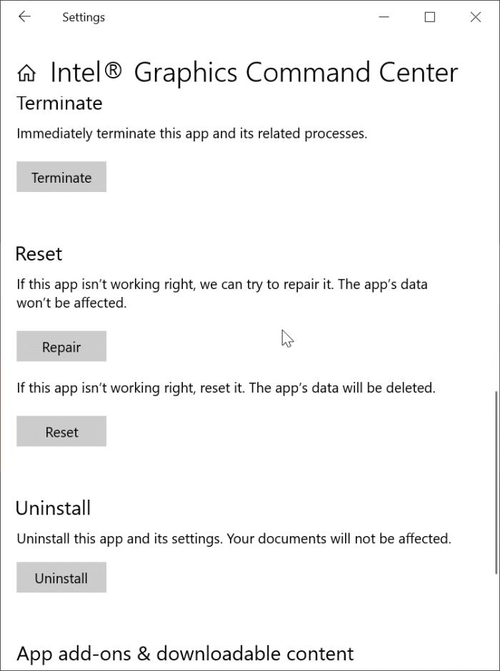 El centro de comando de gráficos Intel no funciona o no se abre pic3