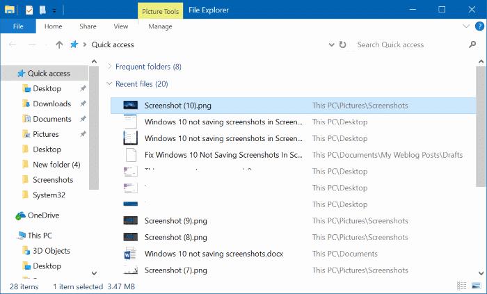 Windows 10 no guarda capturas de pantalla en la carpeta Capturas de pantalla pic32