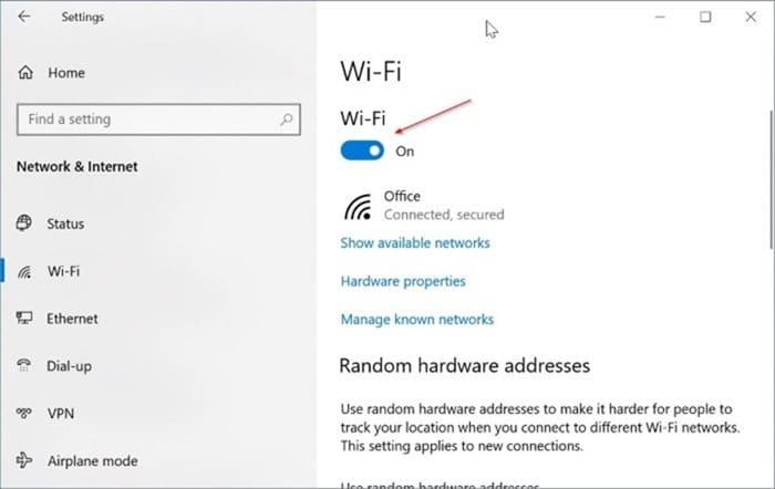 Windows 10 muestra el icono de Ethernet en lugar de Wi Fi pic2.png