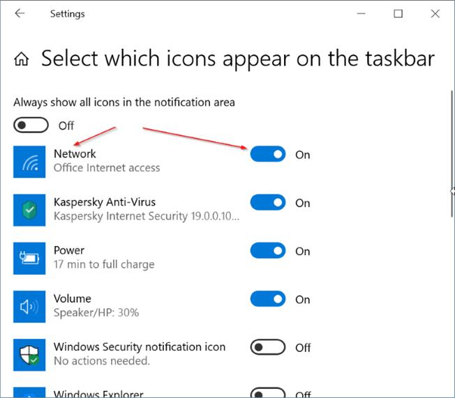 Windows 10 muestra el icono de Ethernet en lugar de Wi Fi pic4