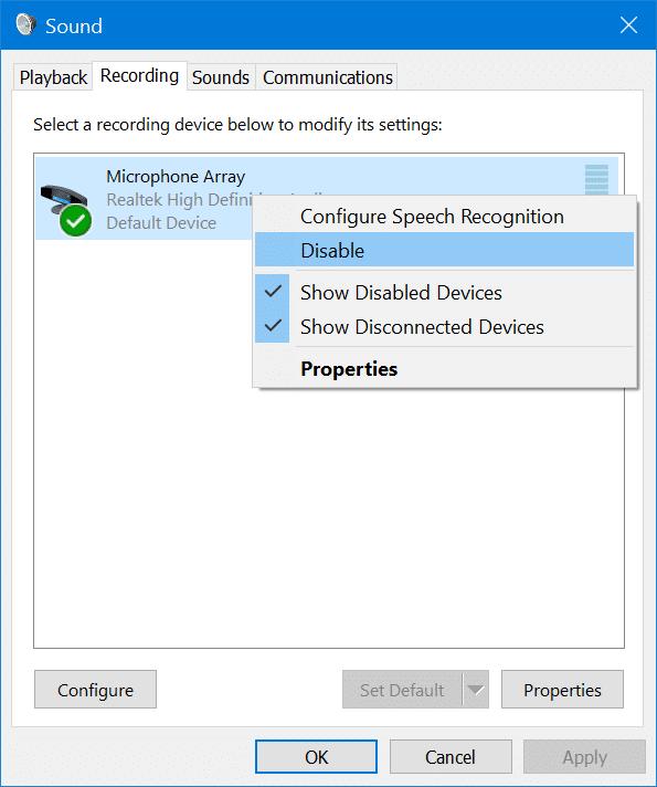 habilitar o deshabilitar el micrófono en Windows 10 pic2