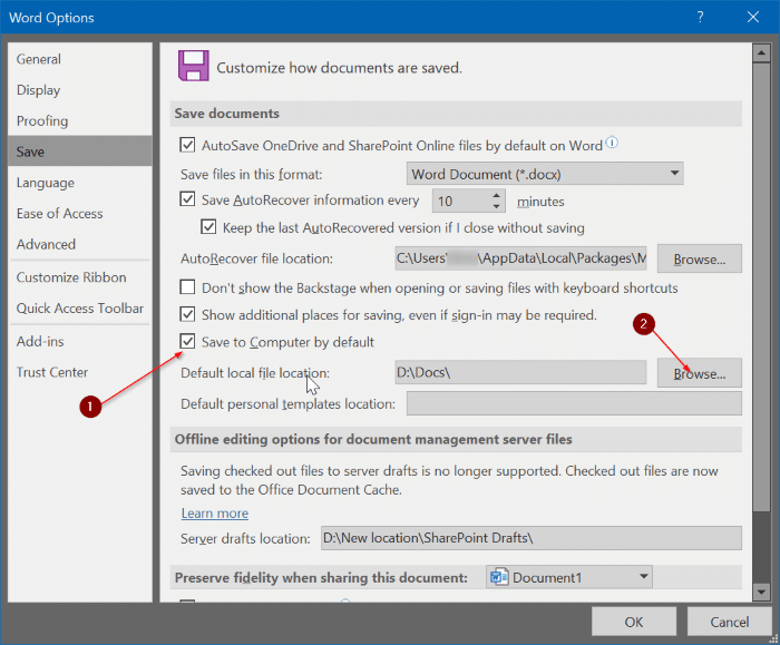 cambiar la ubicación de almacenamiento predeterminada de Office 365 pic4