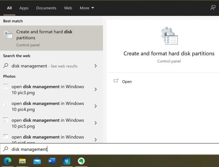 gestión de disco abierto en Windows 10 pic8