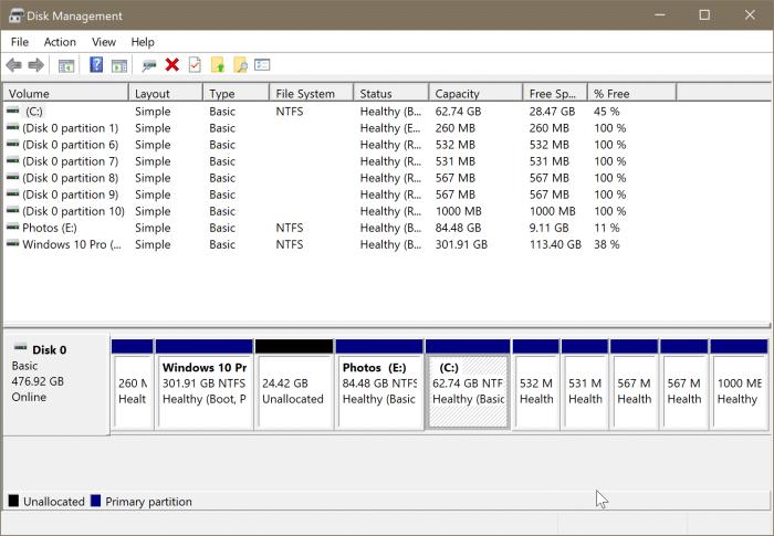 gestión de disco abierto en Windows 10 pic7