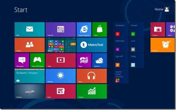 Agregue Apagar, Reiniciar, Hibernar a la pantalla de inicio en Windows 8