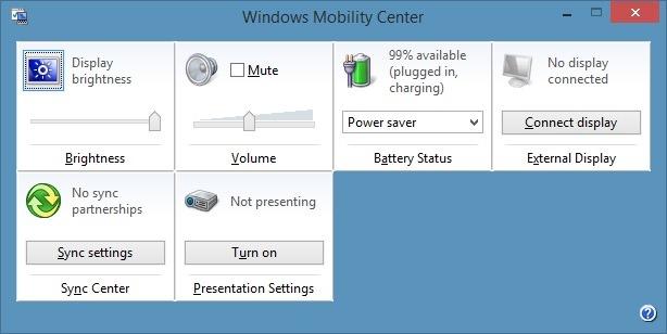 Centro de movilidad de Windows