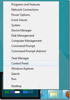 Panel de control en Windows 8