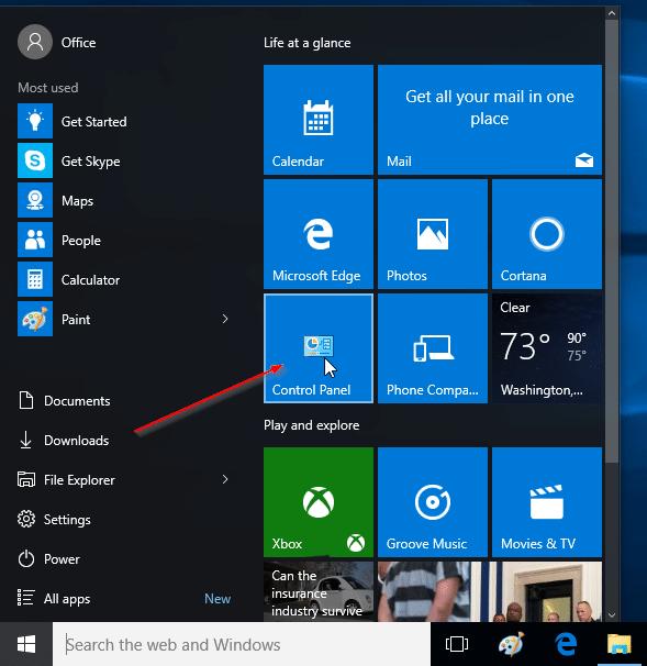 Anclar el Panel de control al menú Inicio de Windows 10