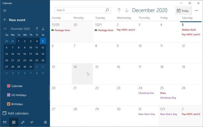 agregar o eliminar recordatorios en el calendario de Windows 10 pic2