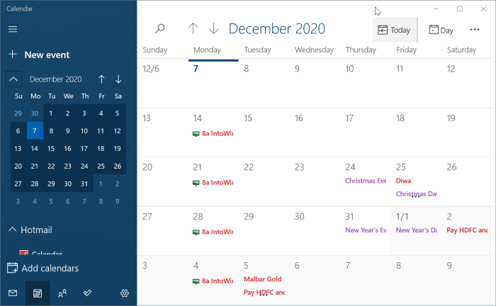 Calendario de Windows 10