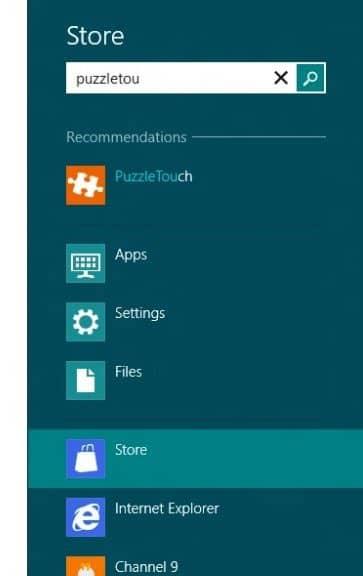 Buscar en la tienda de Windows 8