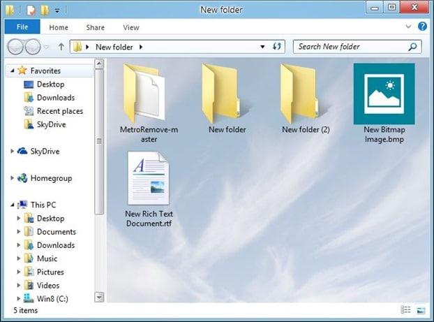 Imagen de fondo de la carpeta en Windows 8.1