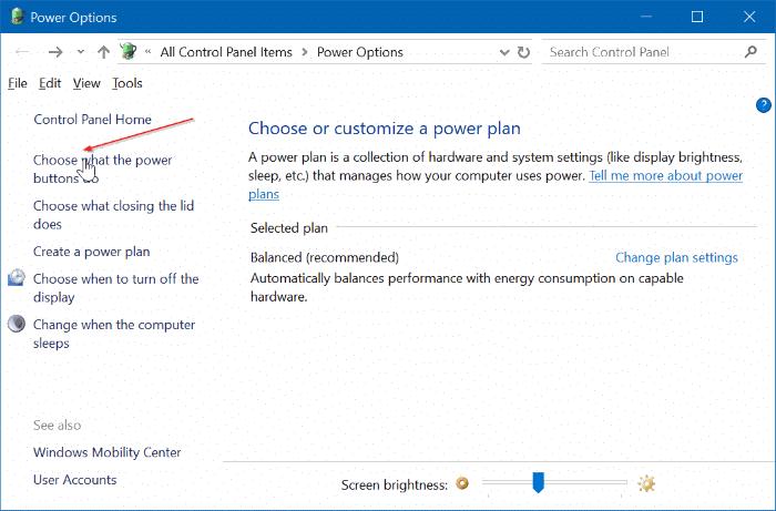 cambiar la configuración del botón de encendido en Windows 10 pic2