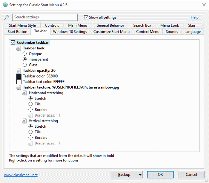 Cambiar la imagen de fondo de la barra de tareas en Windows 10 paso 3
