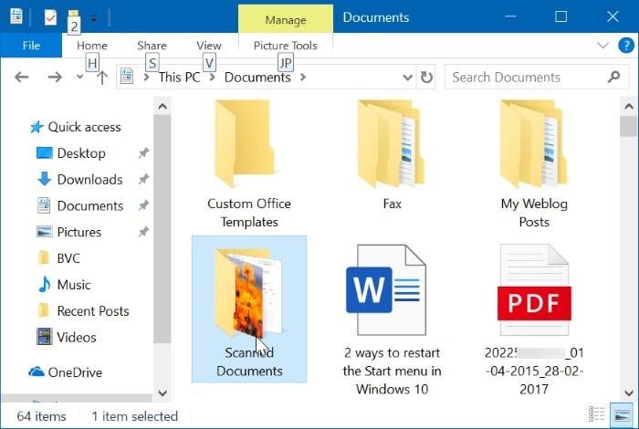 cambiar la ubicación de los documentos escaneados en Windows 10