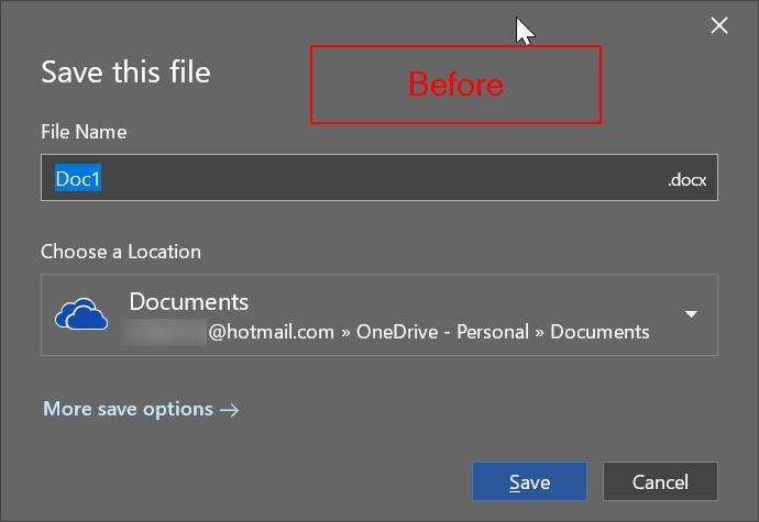 cambiar la ubicación de almacenamiento predeterminada de Office 365 pic1