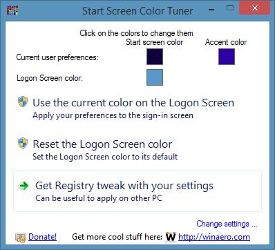 Cambiador de color de pantalla de inicio de sesión para Windows 8.1