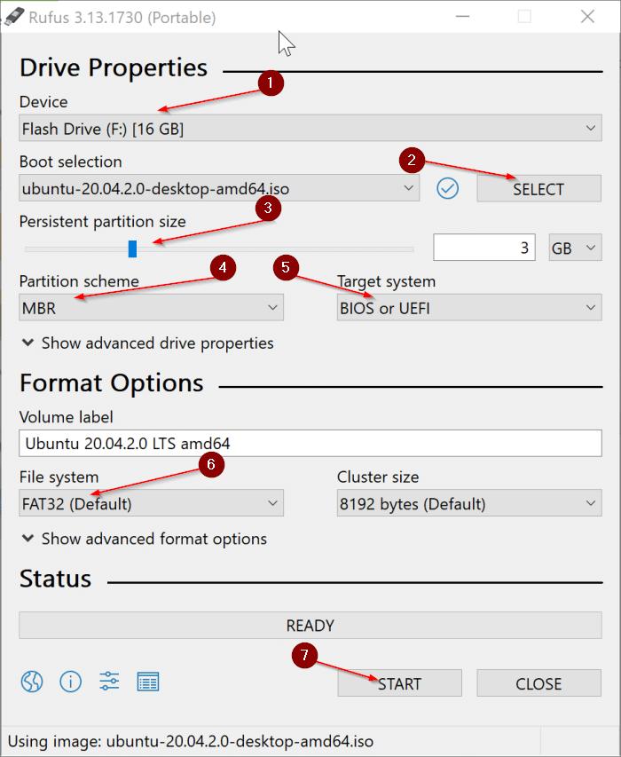 crear Ubuntu Live USB en Windows 10 PC pic1.1