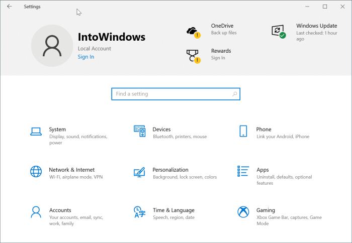 Deshabilitar el encabezado de configuración en Windows 10 pic1