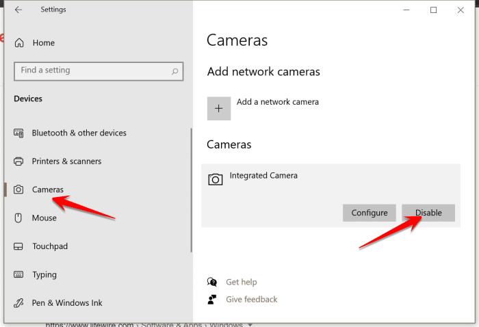Deshabilitar la cámara en Windows 10