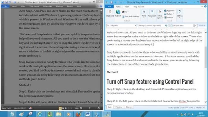 Deshabilitar la vista Snap en Windows 7 o Windows 8