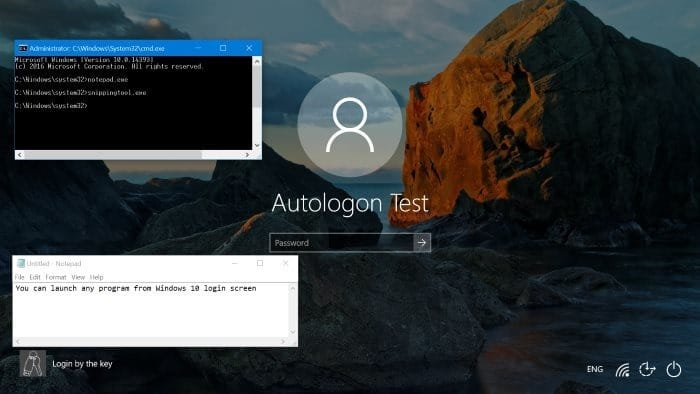 ejecutar cualquier programa desde la pantalla de inicio de sesión de Windows 10