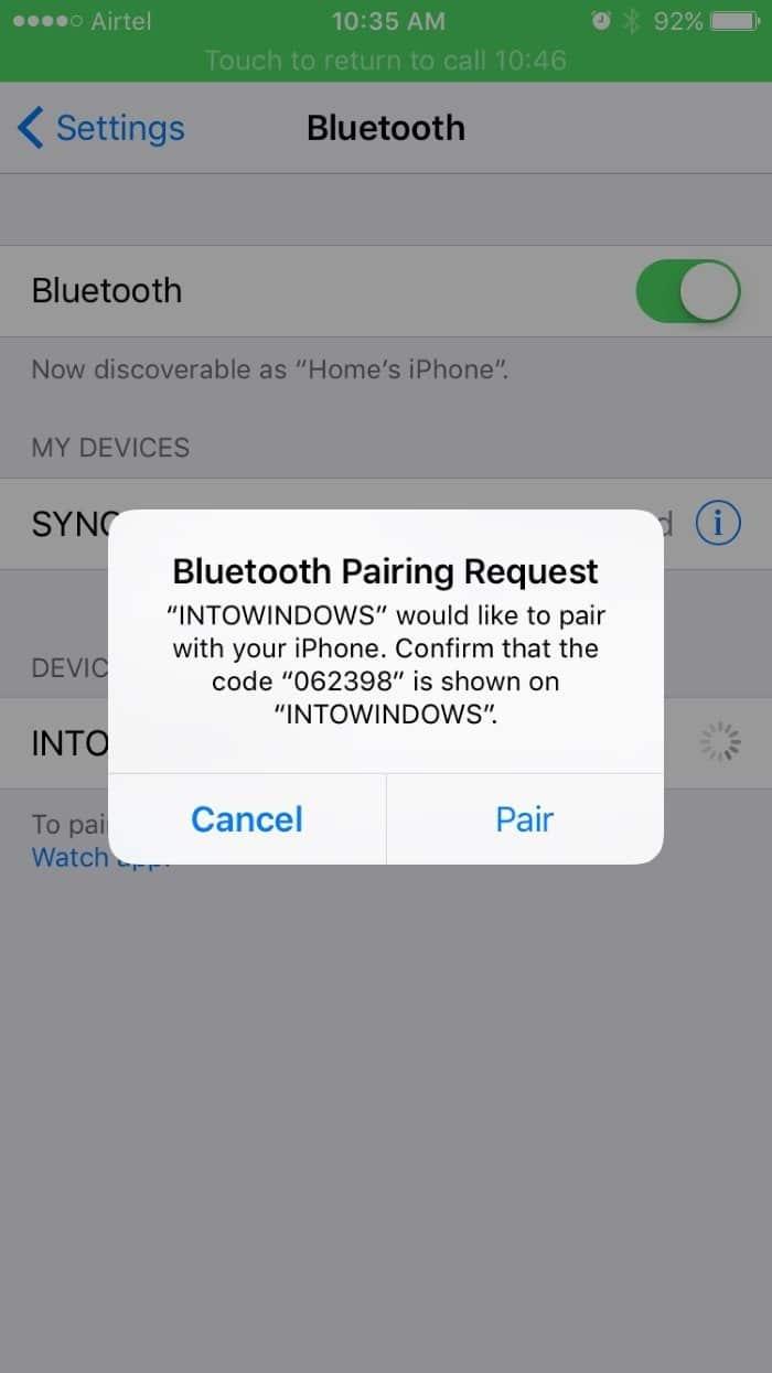Emparejar el iPhone con Windows 10 a través de Bluetooth pic4