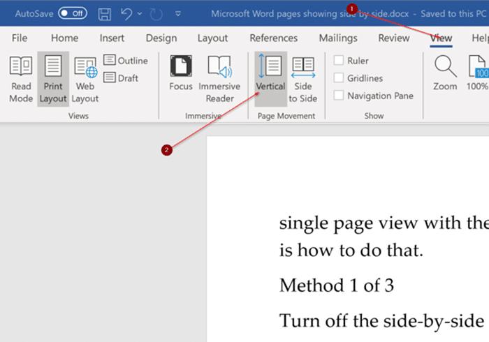 Fix Office Word muestra dos páginas una al lado de la otra pic2