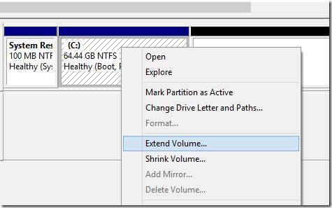 Amplíe la partición del sistema en Windows 8.1 Step4