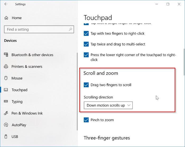 habilitar el desplazamiento con dos dedos en Windows 10