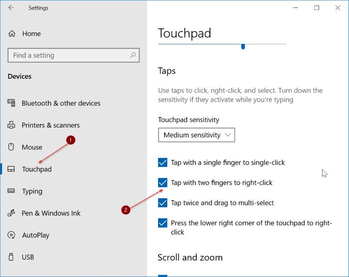 habilitar el toque con dos dedos en Windows 10