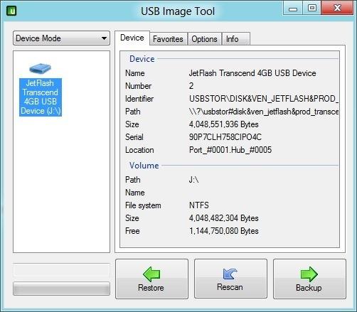 Copia de seguridad de la unidad USB de arranque
