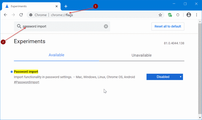 importar contraseñas en Chrome desde el archivo CSV pic1