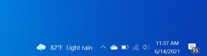 eliminar la temperatura de la barra de tareas de Windows 10