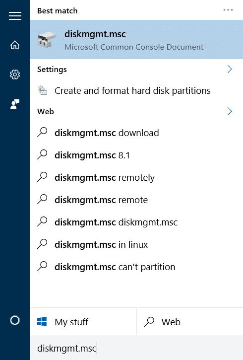 Reducir el volumen o la partición en Windows 10 step01