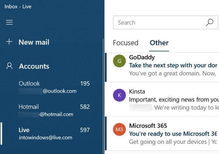 reorganizar las cuentas de correo electrónico en la aplicación de correo de Windows 10 pic01
