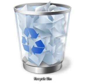 Ver el tamaño de todos los archivos en el paso de la Papelera de reciclaje primero