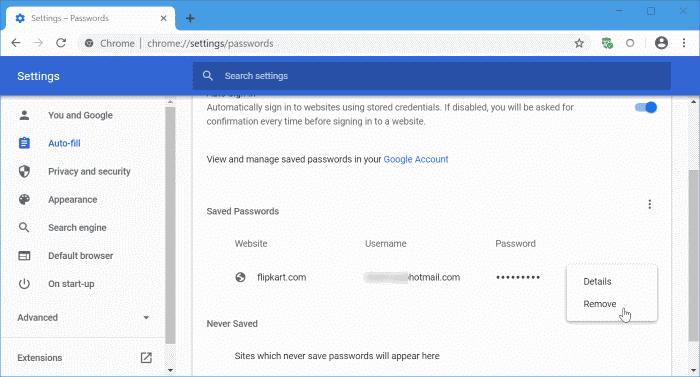 actualizar las contraseñas guardadas en Google Chrome pic1