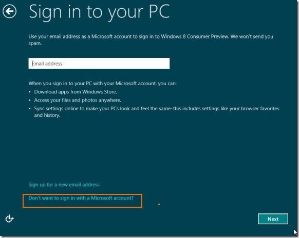 Crear cuenta de usuario sin dirección de correo electrónico en Windows 8