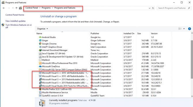 Encontrar Visual C ++ redistribuible en programas instalados
