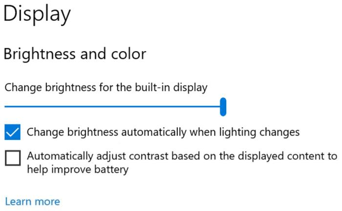 deshabilitar el brillo y el contraste automáticos a través de la configuración en Windows 10