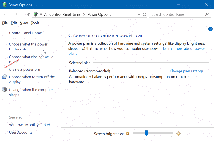 evitar que la computadora portátil se inicie al abrir la tapa en windows 10 pic2