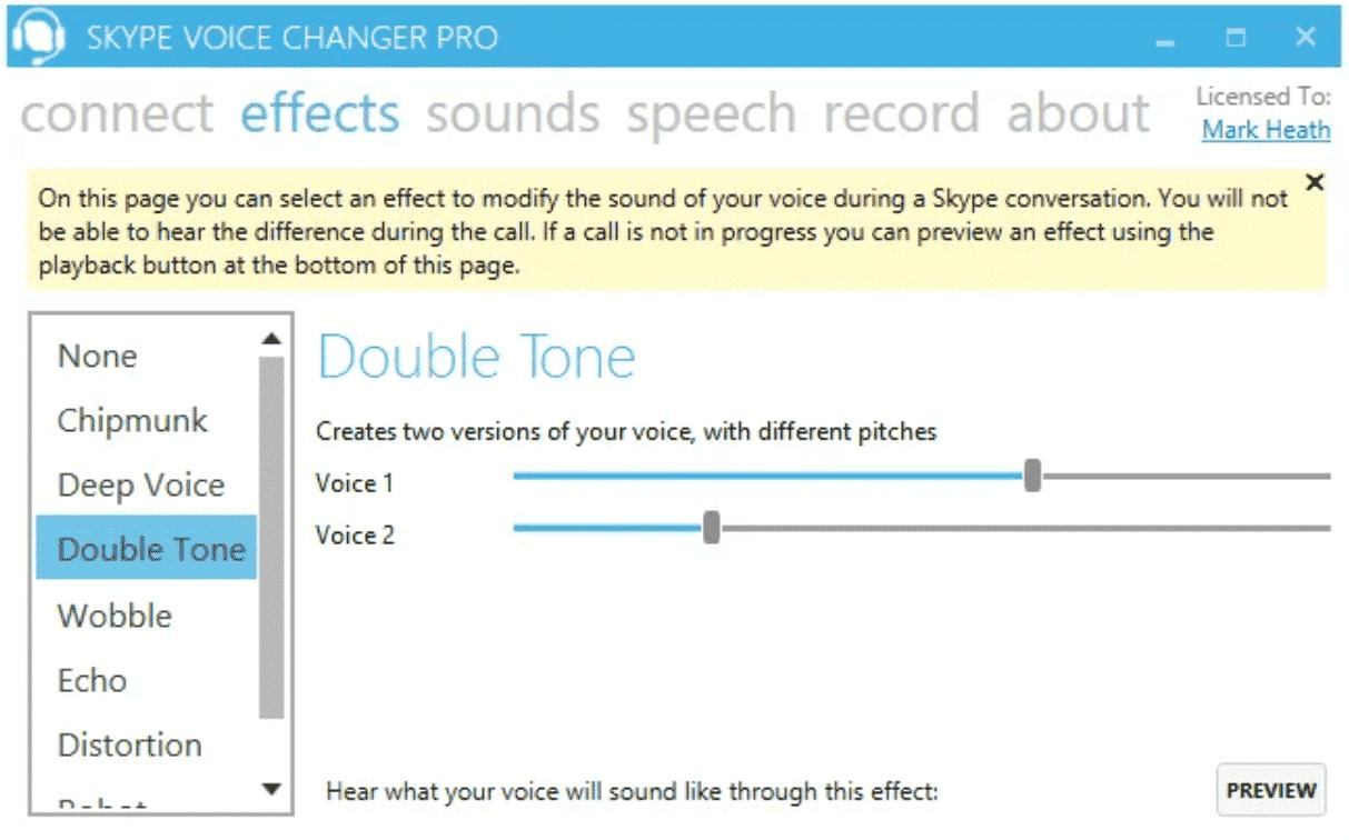 Cambiador de voz de Skype