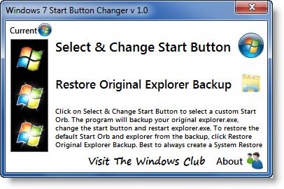 Cambiador de botón de inicio de Windows 7
